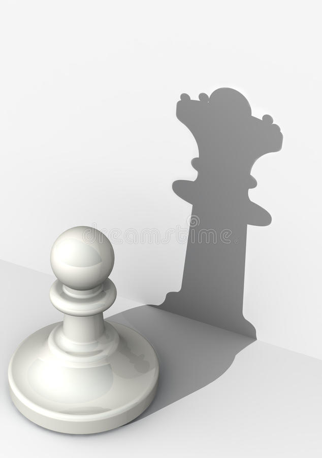 Pawn with high self-esteem. Chess piece royalty free illustration