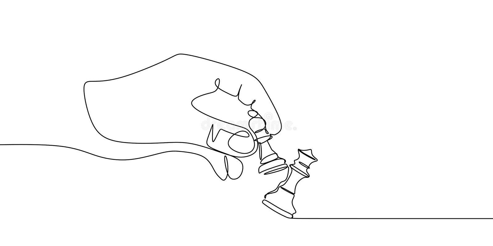 Pawn and queen chess pieces are drawn by one black line on a white background. Continuous line drawing. Vector illustration royalty free illustration