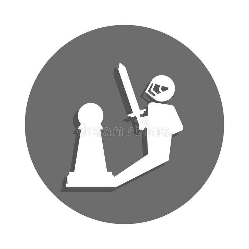 pawn warrior icon in badge style. One of chess collection icon can be used for UI, UX stock illustration