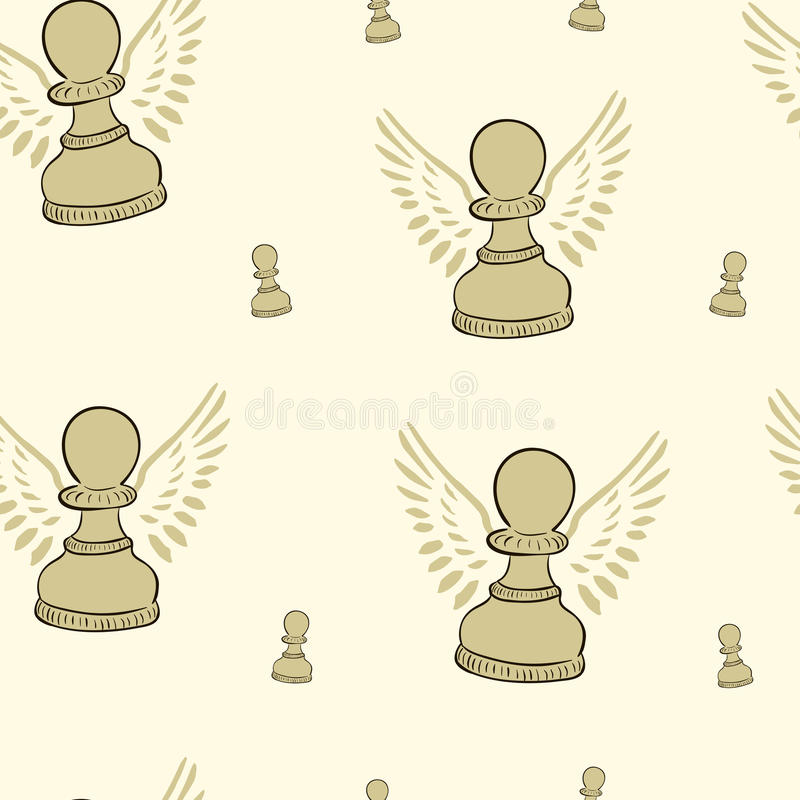 Pawn with wings. Winged chessmen of a pawn on a light background royalty free illustration