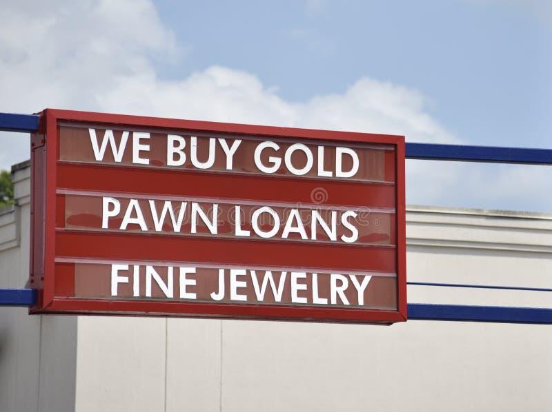 Pawnbrokers, Złociści handlowowie i Świetni biżuteria sklepy, zdjęcia royalty free