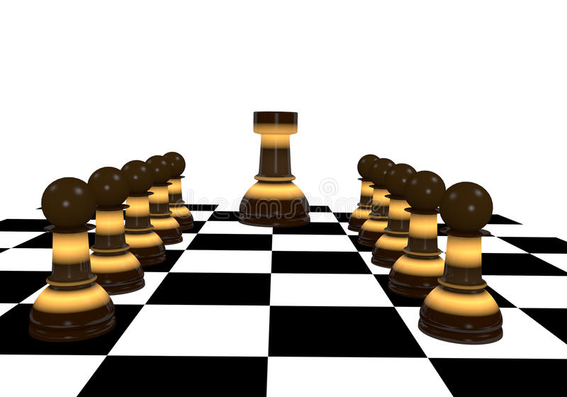 Pawns and castle