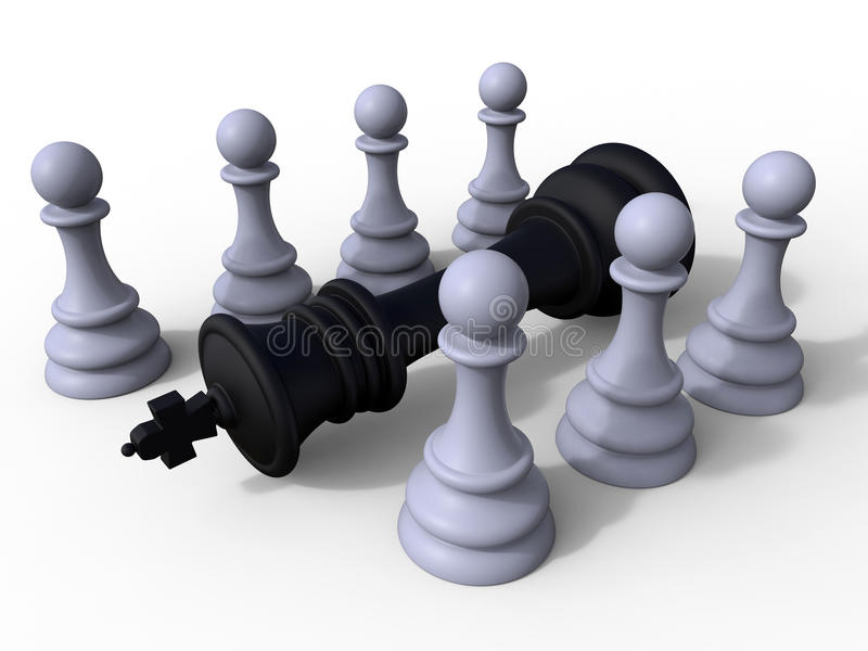 Pawns chess victory concept. 3D rendered illustration for the concept of pawns winning a chess game. The composition is isolated on a white background with stock illustration