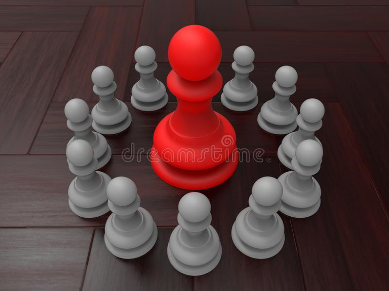 Pawns rally behind the boss concept. 3D render illustration of the concept of pawns rallying behind the boss. The composition is positioned on a wooden vector illustration