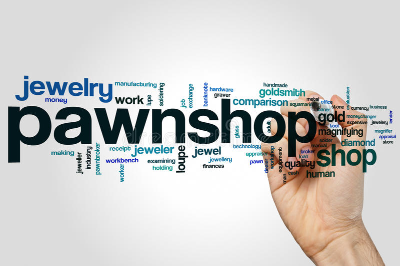Pawnshop word cloud. Concept on grey background stock photos