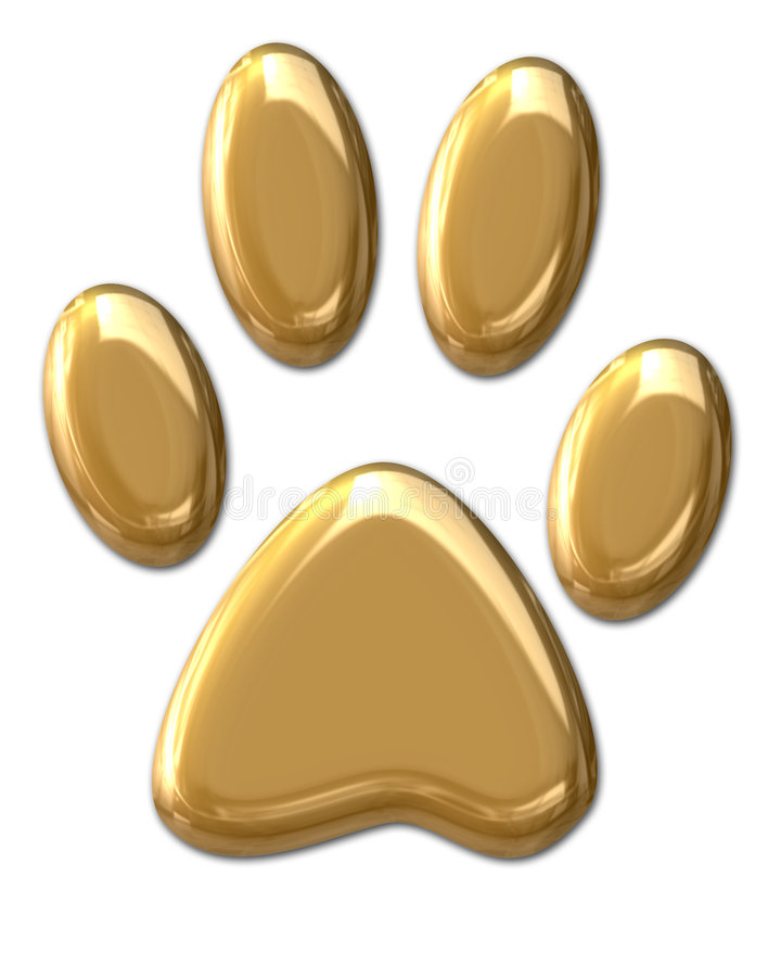 Pawprint Dourado Fotos de Stock
