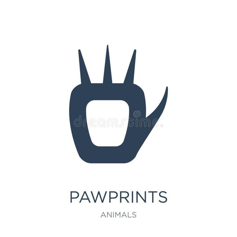pawprints εικονίδιο στο καθιερώνον τη μόδα ύφος σχεδίου pawprints εικονίδιο που απομονώνεται στο άσπρο υπόβαθρο pawprints διανυσμ ελεύθερη απεικόνιση δικαιώματος