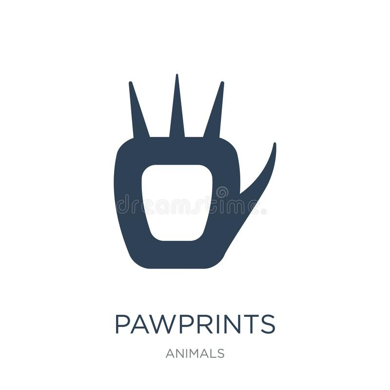 pawprints icon in trendy design style. pawprints icon isolated on white background. pawprints vector icon simple and modern flat royalty free illustration