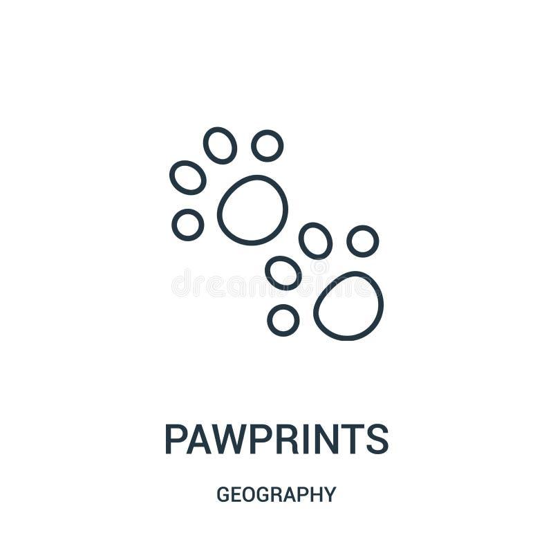 pawprints pictogramvector van aardrijkskundeinzameling De dunne lijn pawprints schetst pictogram vectorillustratie stock illustratie
