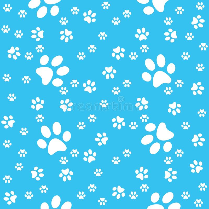 Paws background, paw blue pattern, vector illustration stock photo