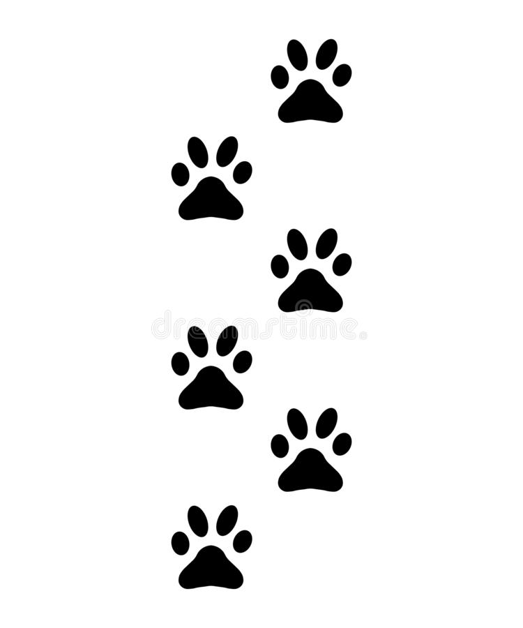 Paws, footprints, silhouette  traces of cat, dog sign vector illustration