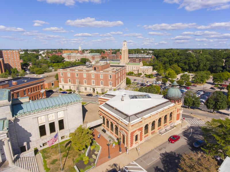 Pawtucket Historic town center aerial view, Rhode Island, USA. Pawtucket city hall on Roosevelt Avenue and Public Library aerial view in downtown Pawtucket stock photos