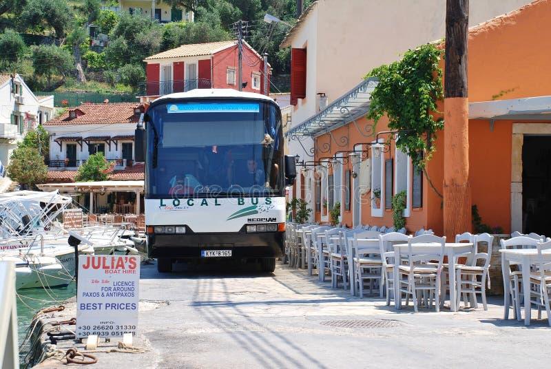 Paxos海岛公共汽车, Loggos 免版税库存图片