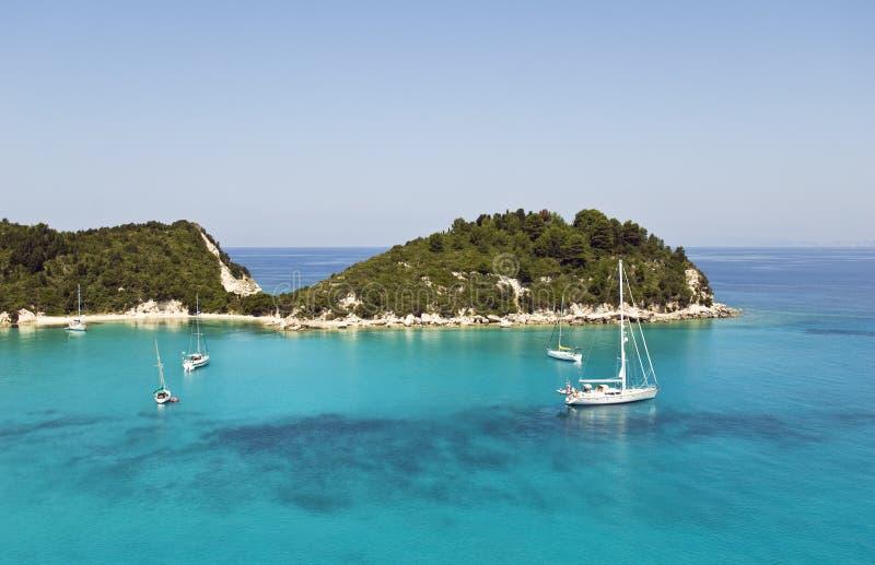paxos lakka гавани Греции стоковые изображения rf