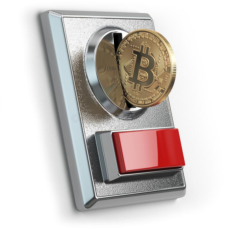 Pay by bitcoin concept. BItcoin coin and coin acceptor isolated royalty free illustration