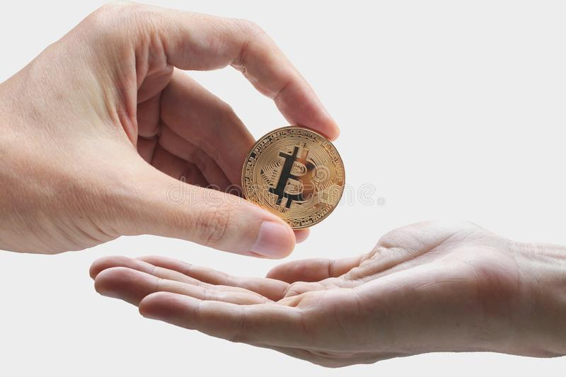 Pay bitcoin, hand use bitcoin digital technology on a white back. Ground, currency blockchain technology concept stock photo