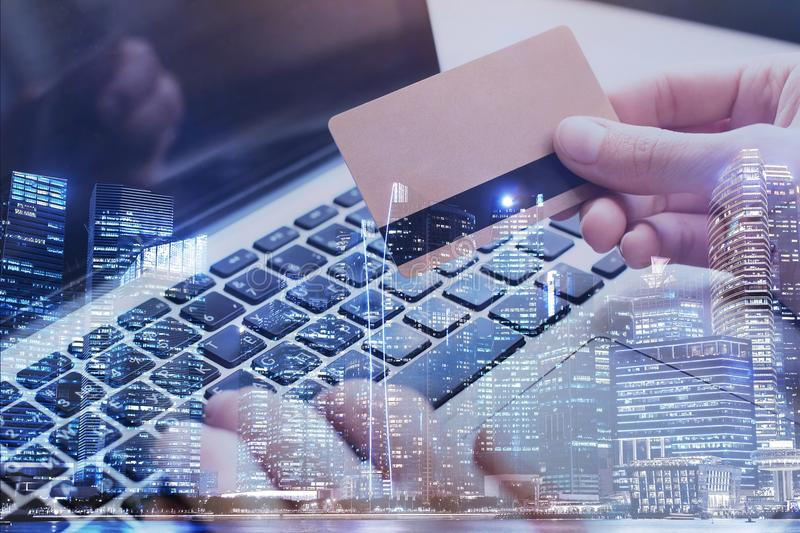 Pay by card online on internet, double exposure stock photo