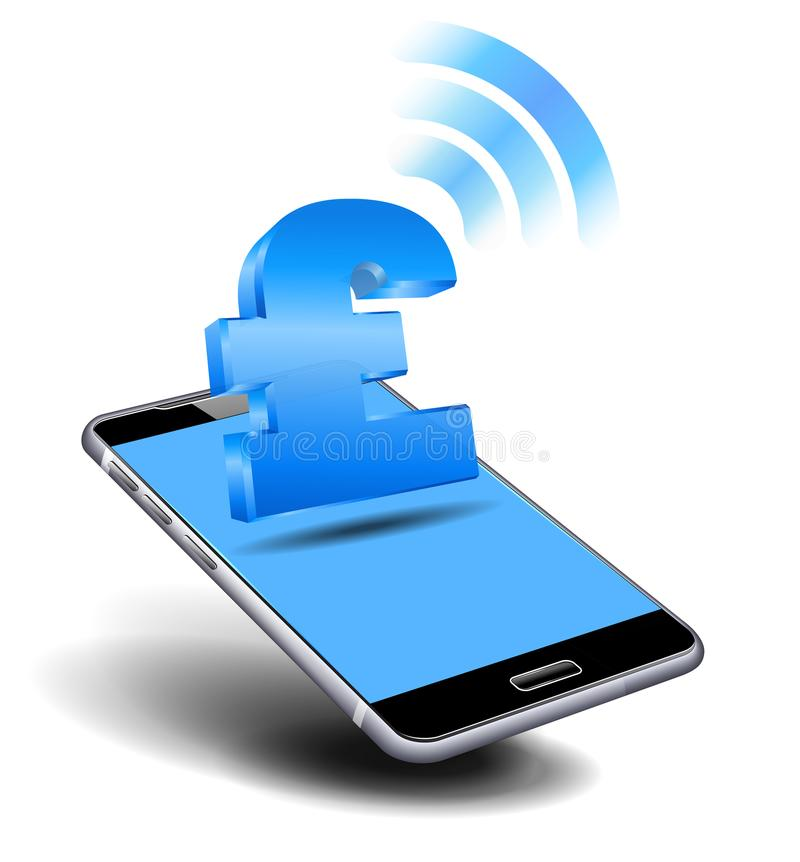Pay Cash by Mobile, Smart Cell Phone, Phone with Pound Icon royalty free illustration