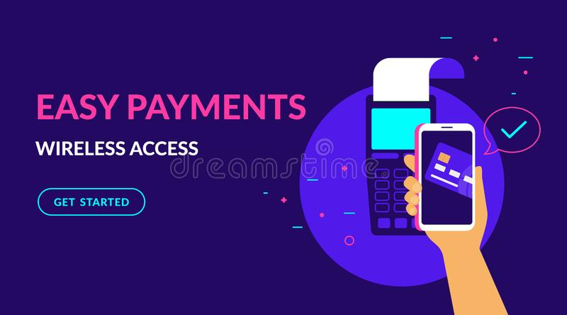 Pay by credit card wirelessly and easy flat vector neon illustration for ui ux web design. Pay by credit card in your mobile wallet wirelessly and easy flat vector illustration