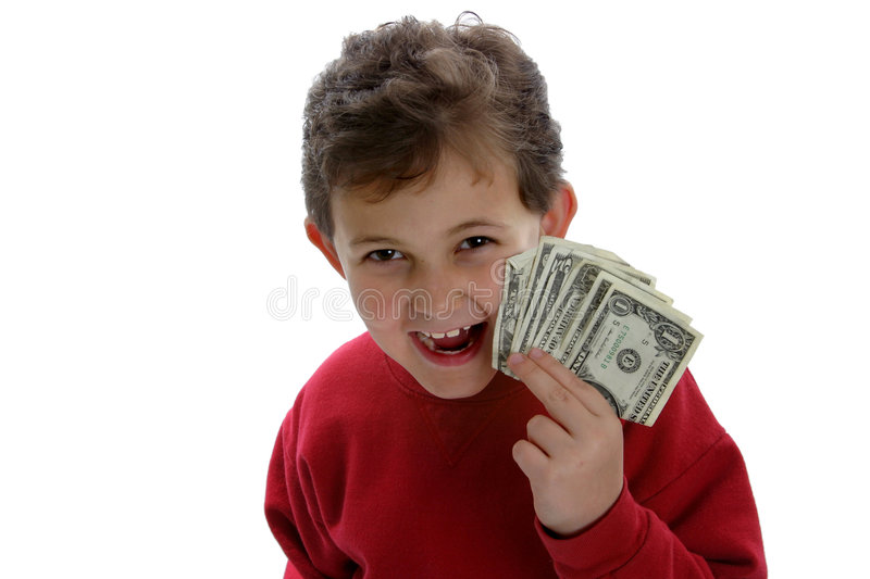 Pay Day!. An image of kids and money. Use to illustrate parenting, allowance, budgeting, college education, etc stock photos