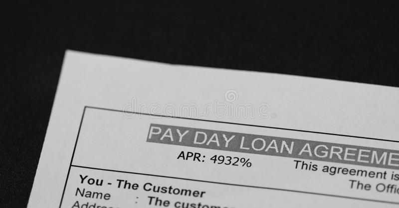 Pay day Loan. Agreement shot royalty free stock image