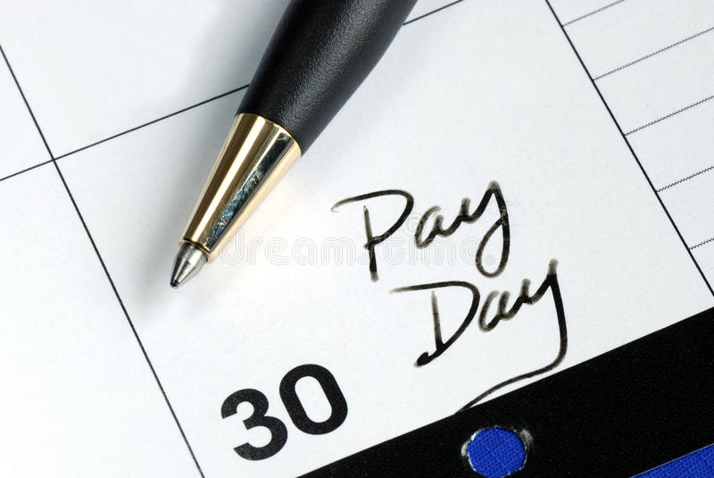 Pay day of the month. Today is the pay day of the month stock image