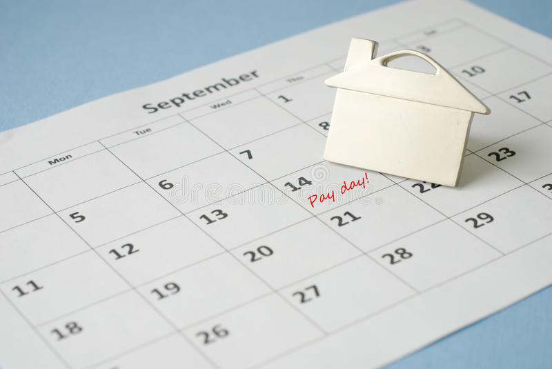 Pay day. Mortgage pay day on calendar stock photos