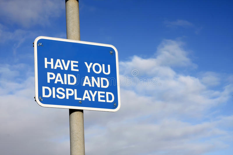 Pay and Display sign stock photos