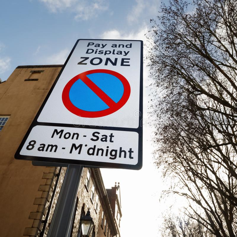 Pay and Display Zone Parking Sign stock photography