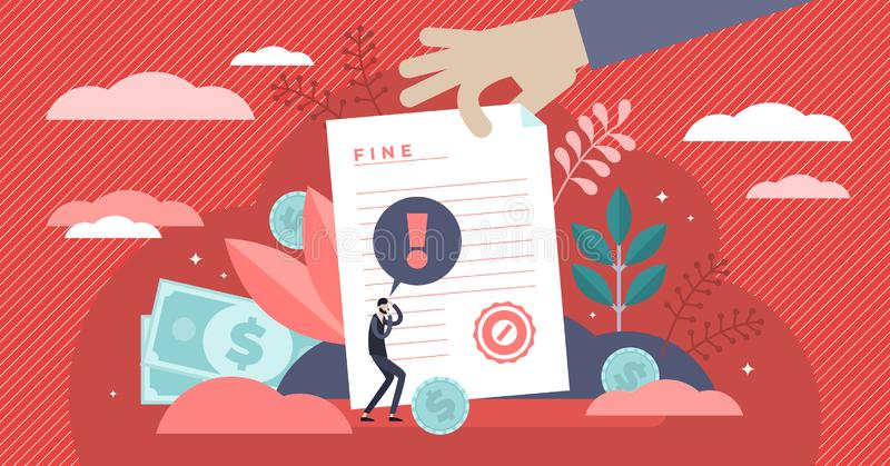 Pay fine vetor ilustrado Pequeno documento de punição plano conceito de pessoa ilustração stock