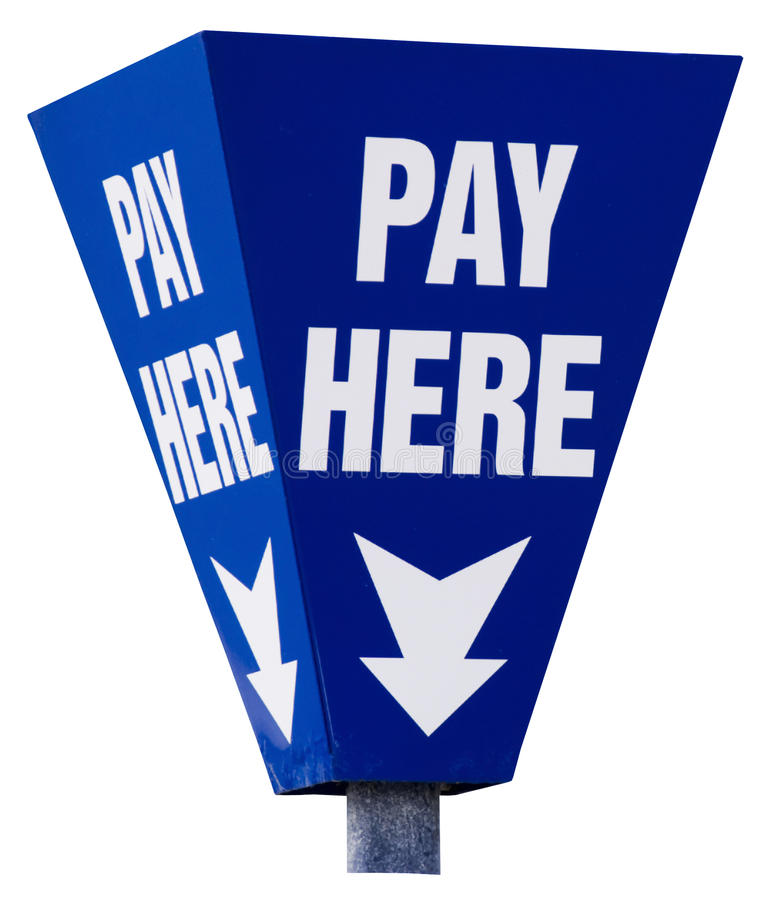 Free Pay Here Sign Isolated On White Stock Photo - 15184700
