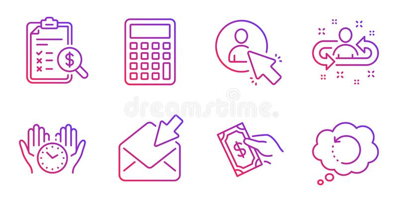 Pay money, Accounting report and Calculator icons set. Safe time, Recruitment and User signs. Vector. Pay money, Accounting report and Calculator line icons set stock illustration