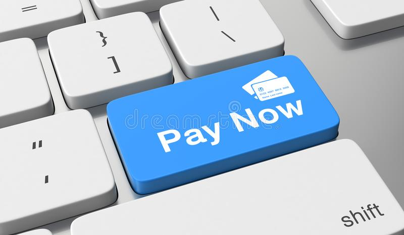 Pay now. Text written on keyboard button stock images