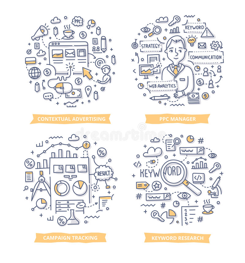 Pay Per Click Doodle Illustrations royalty free illustration