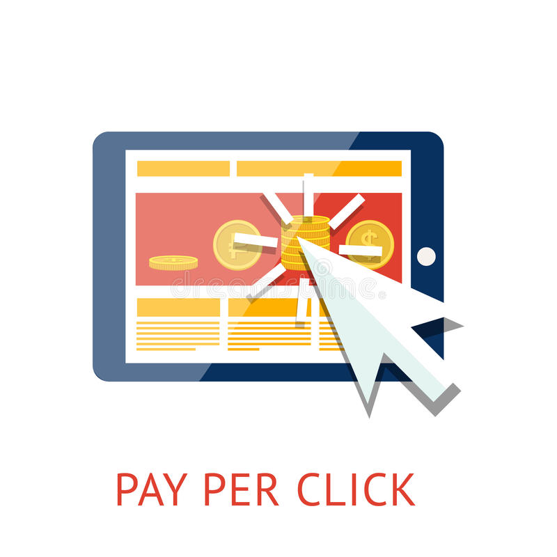 Pay per click illustration with tablet. Flat concept of pay per click ppc internet advertising model when the ad is clicked. Isolated on white background. Vector stock illustration