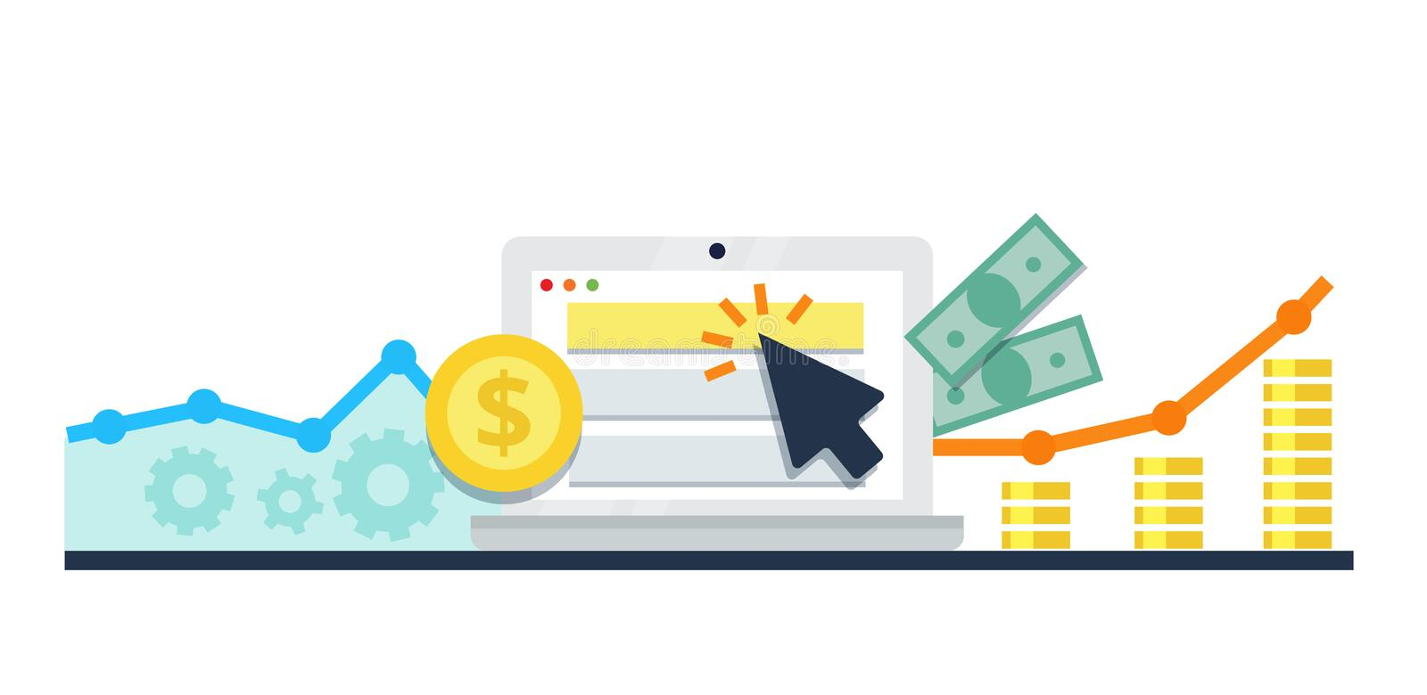 Pay Per Click internet marketing concept - flat illustration. PPC advertising and conversion. PPC, pay per click flat online internet marketing concept stock illustration