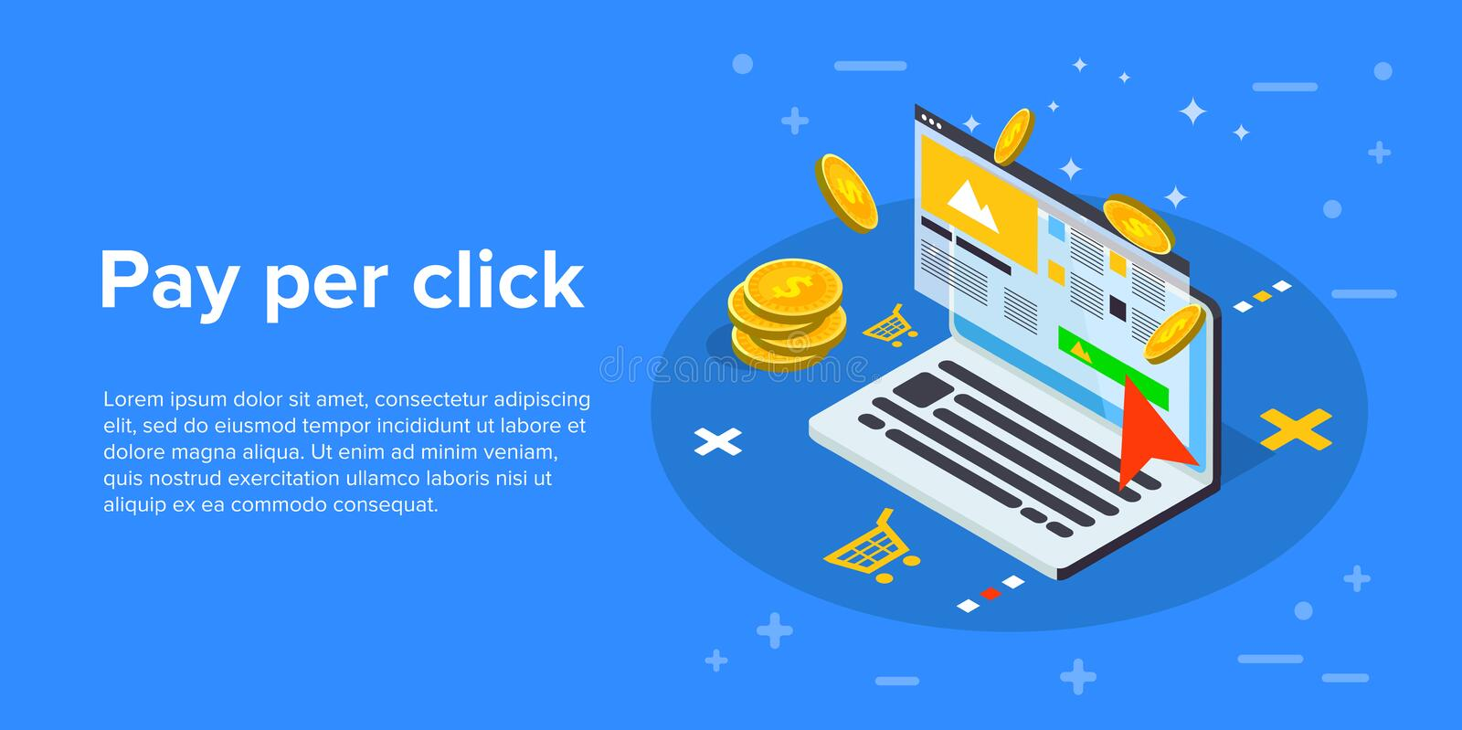 Pay per click marketing isometric vector concept illustration. P royalty free illustration