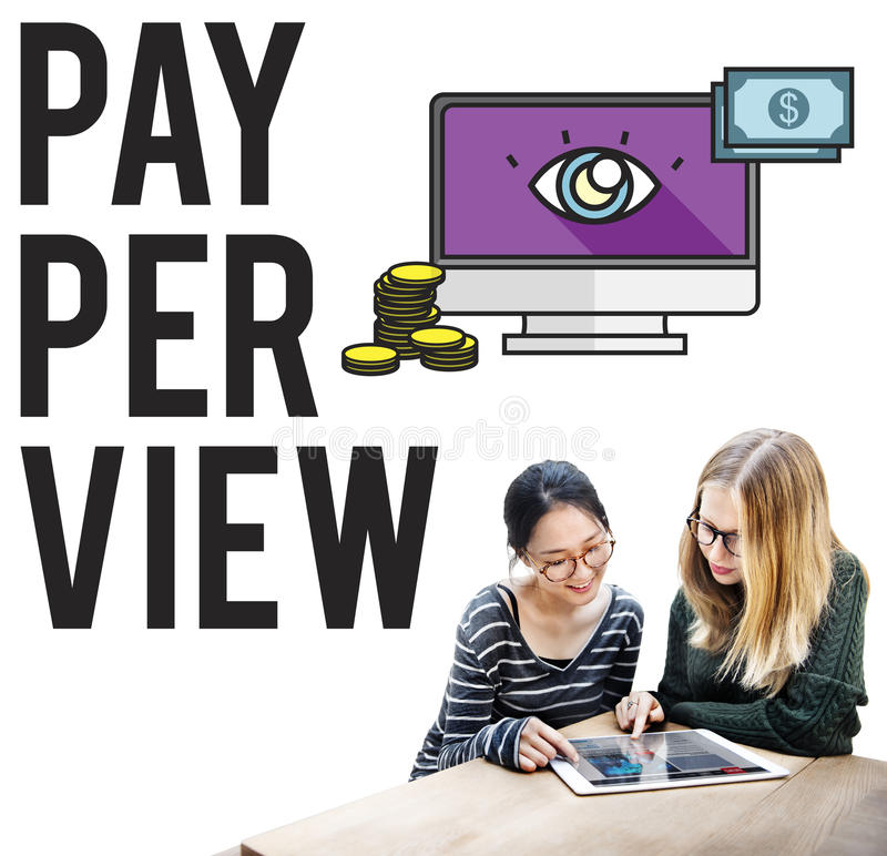 Pay-Per-View Content Magnifier Observation Concept royalty free stock photo
