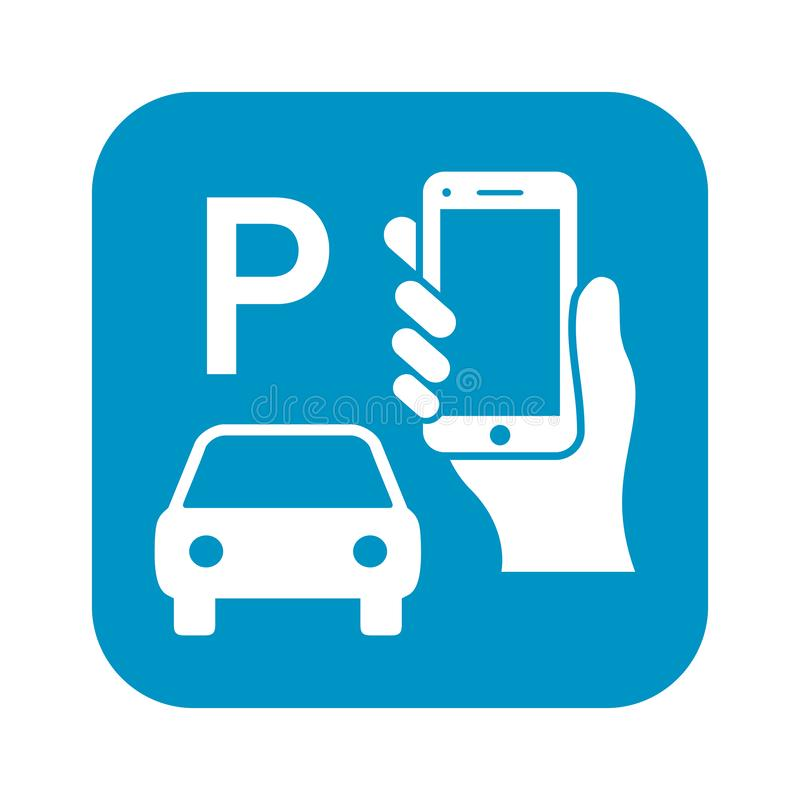 Pay to park by mobile phone sign royalty free illustration
