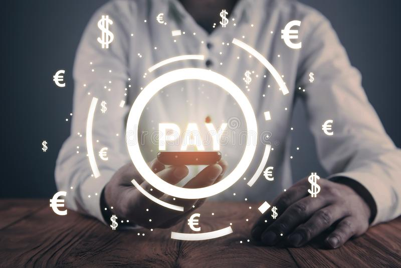 Pay word with a currency symbols. Online marketing. Payments concept royalty free stock photography