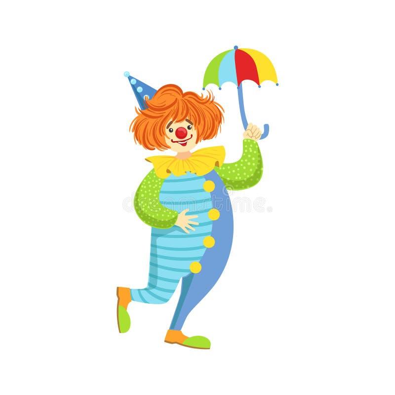 Payaso amistoso colorido With Mini Umbrella In Classic Outfit libre illustration