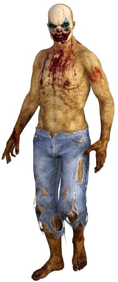 Payaso asustadizo Isolated de Halloween del zombi stock de ilustración