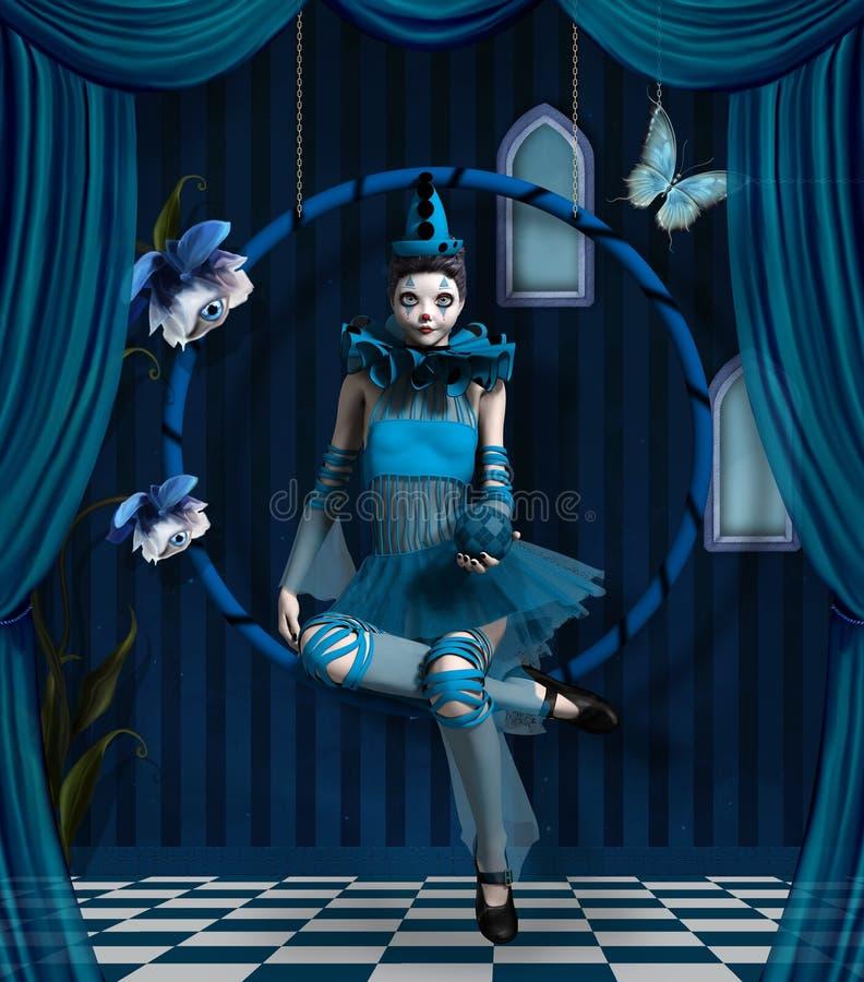Payaso azul ilustración del vector