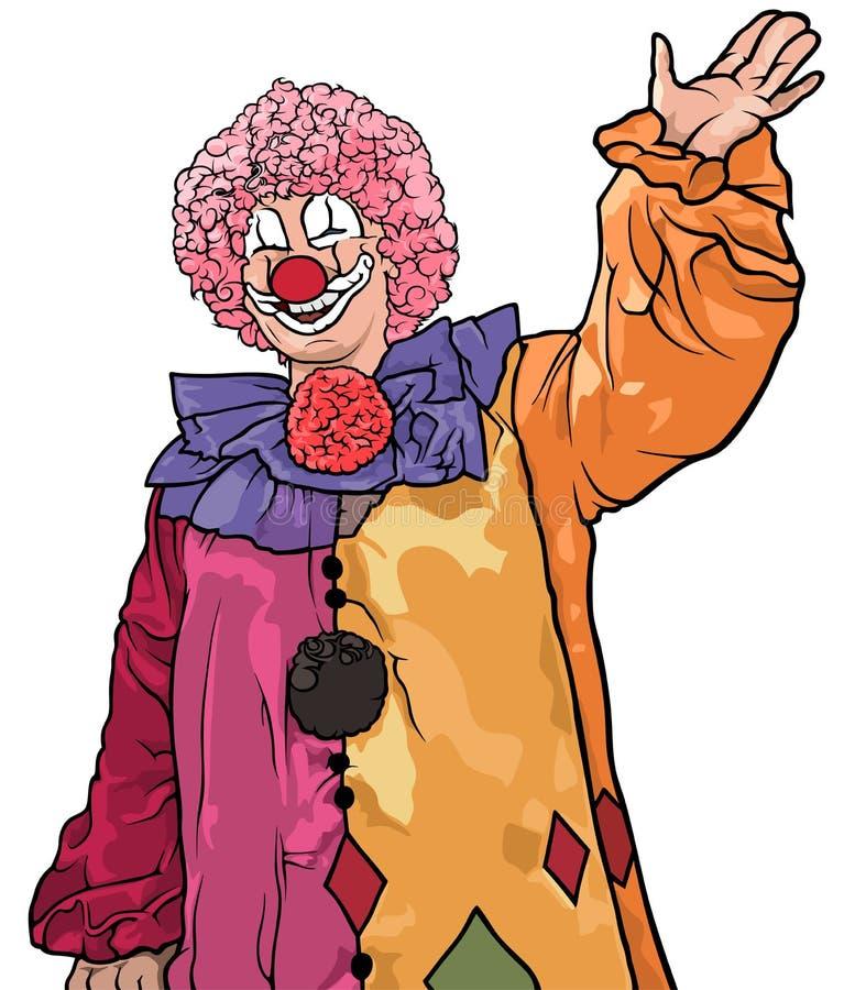 Payaso colorido feliz Waving ilustración del vector