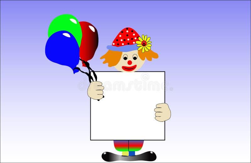 Payaso con los baloons stock de ilustración