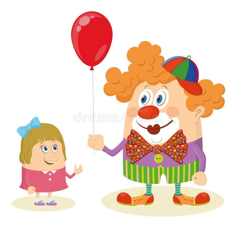 Payaso de circo con el globo y la muchacha ilustración del vector