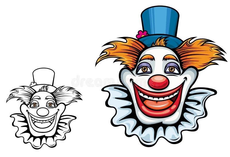 Payaso de circo sonriente en sombrero ilustración del vector