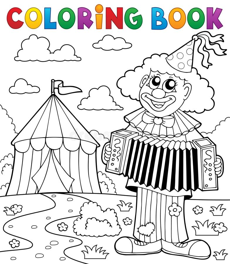 Ilustración De Libro Para Colorear Payaso Cerca De Circo Tema 5 Y