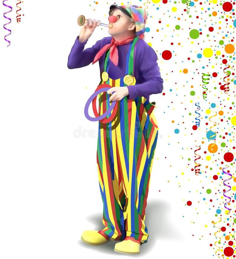 Payaso feliz con los pantalones coloridos ilustración del vector