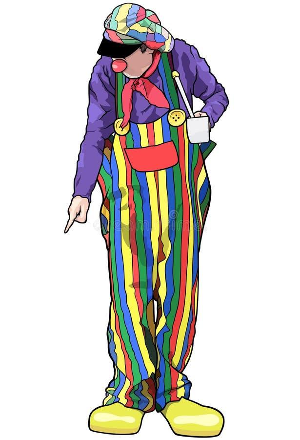 Payaso feliz con los pantalones coloridos libre illustration